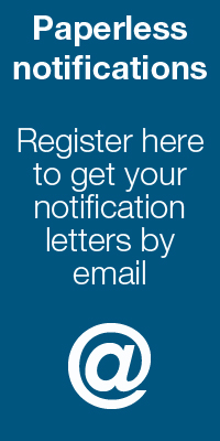 Paperless Notifications. Register here to get your notification letters by email