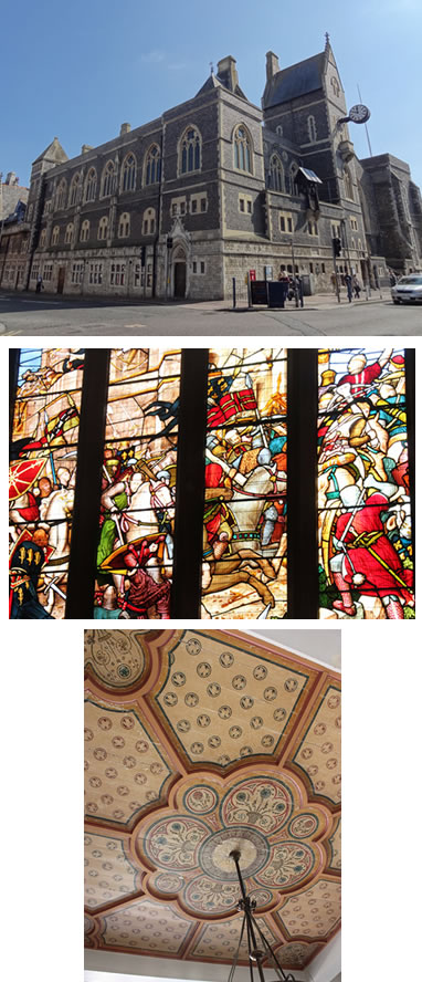 Dover Town hall collage, Exteriror of building, Stained glass windows, roof detailing