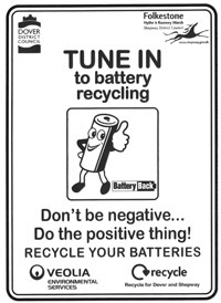 Tune in to battery recycling. Don't be negative... Do the positive thing! Recycle your batteries